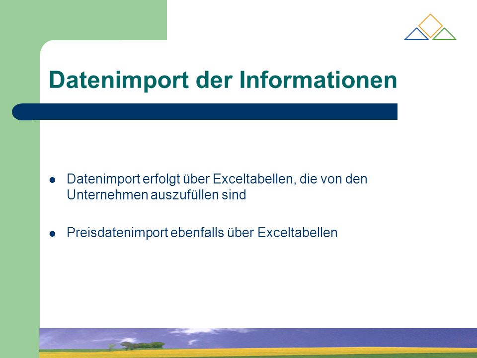 Datenimport der Informationen