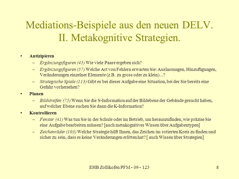 Mediations-Beispiele aus den neuen DELV. II. Metakognitive Strategien.