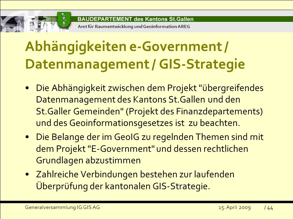 Abhängigkeiten e-Government / Datenmanagement / GIS-Strategie
