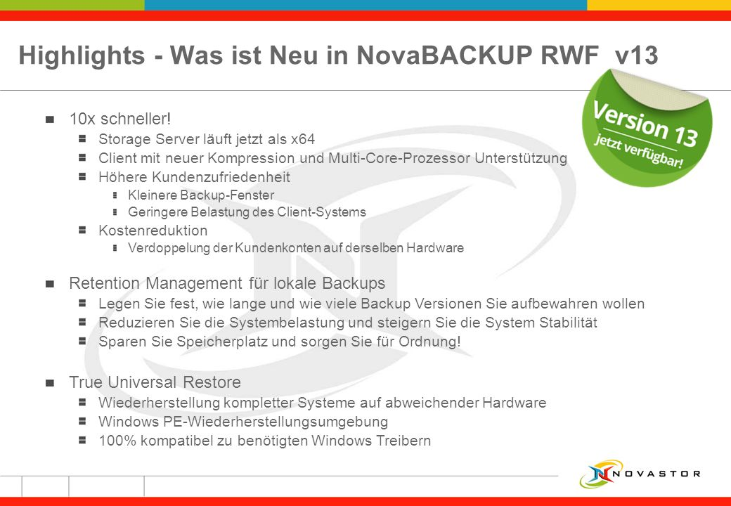 Highlights - Was ist Neu in NovaBACKUP RWF v13