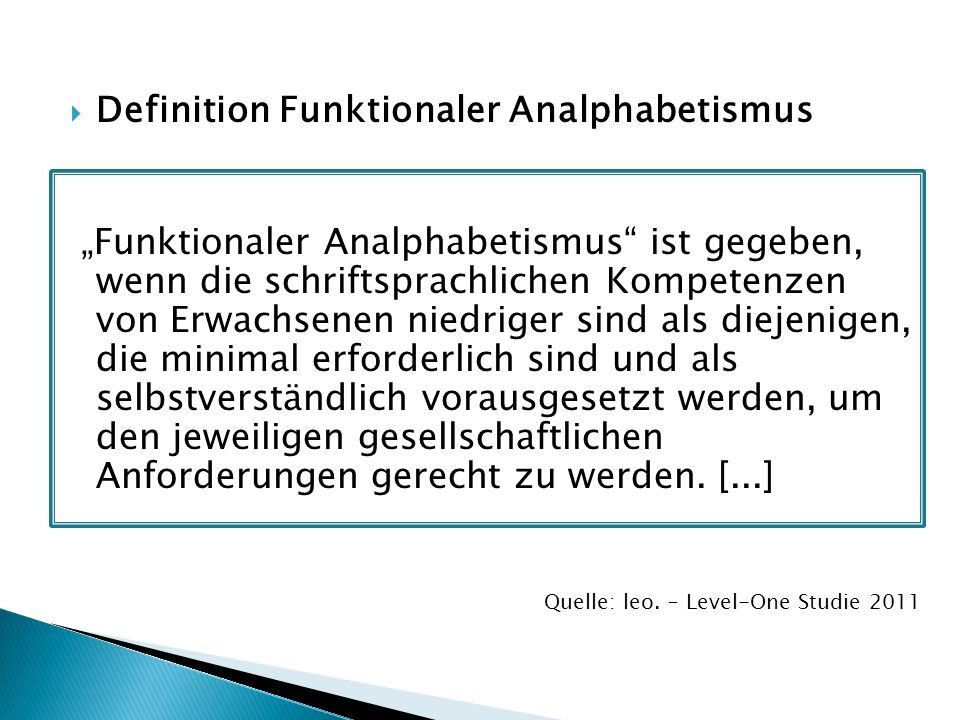 Definition Funktionaler Analphabetismus