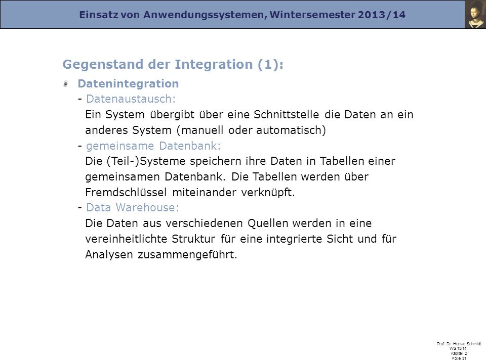 Gegenstand der Integration (1):