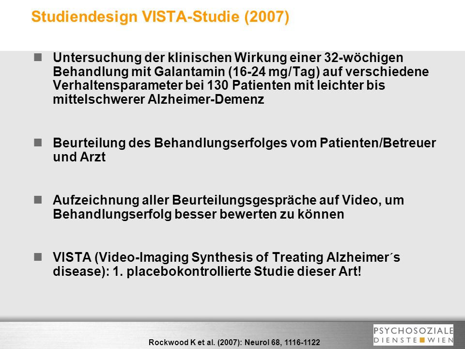 Studiendesign VISTA-Studie (2007)