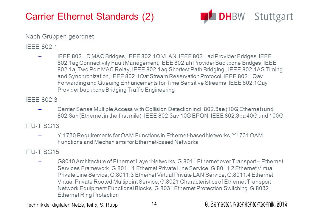 Carrier Ethernet Standards (2)