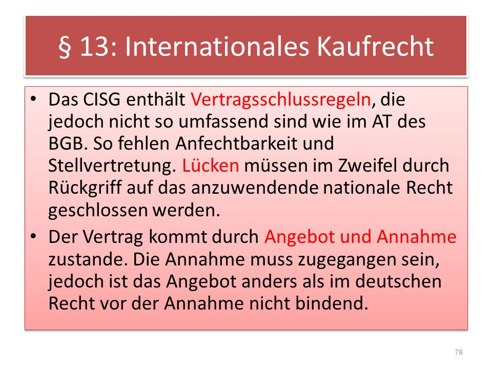 § 13: Internationales Kaufrecht
