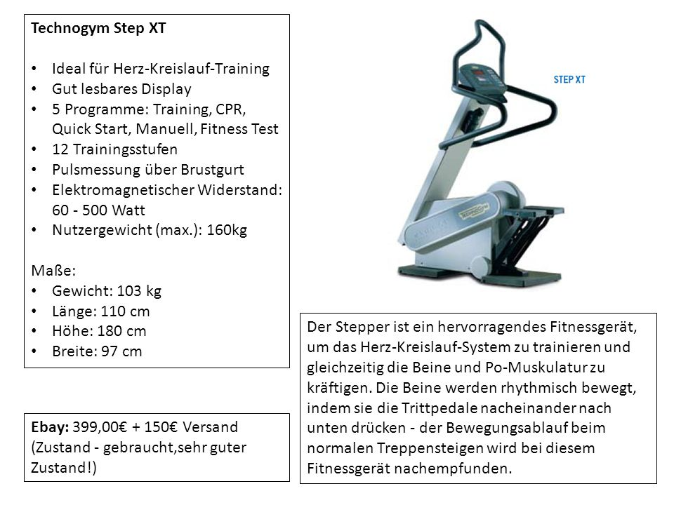 Technogym Step XT Ideal für Herz-Kreislauf-Training. Gut lesbares Display. 5 Programme: Training, CPR, Quick Start, Manuell, Fitness Test.