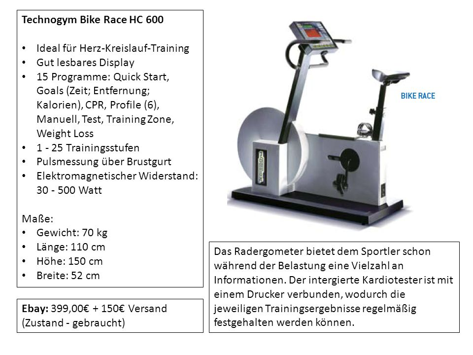 Technogym Bike Race HC 600 Ideal für Herz-Kreislauf-Training. Gut lesbares Display.
