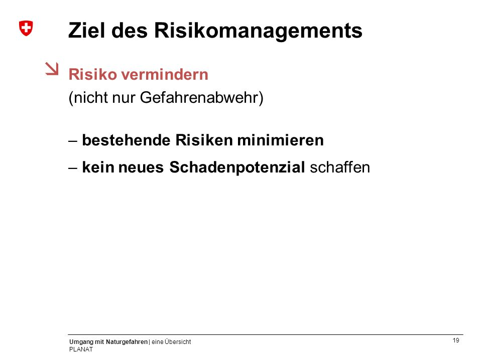 Ziel des Risikomanagements