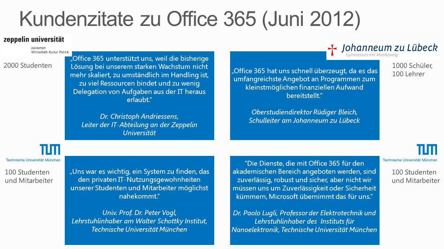 Kundenzitate zu Office 365 (Juni 2012)