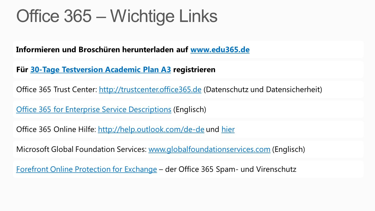 Office 365 – Wichtige Links