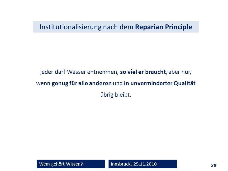 Institutionalisierung nach dem Reparian Principle