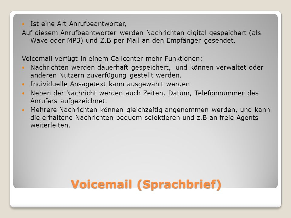 Voicemail (Sprachbrief)