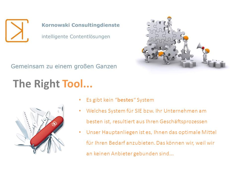 The Right Tool... Es gibt kein bestes System