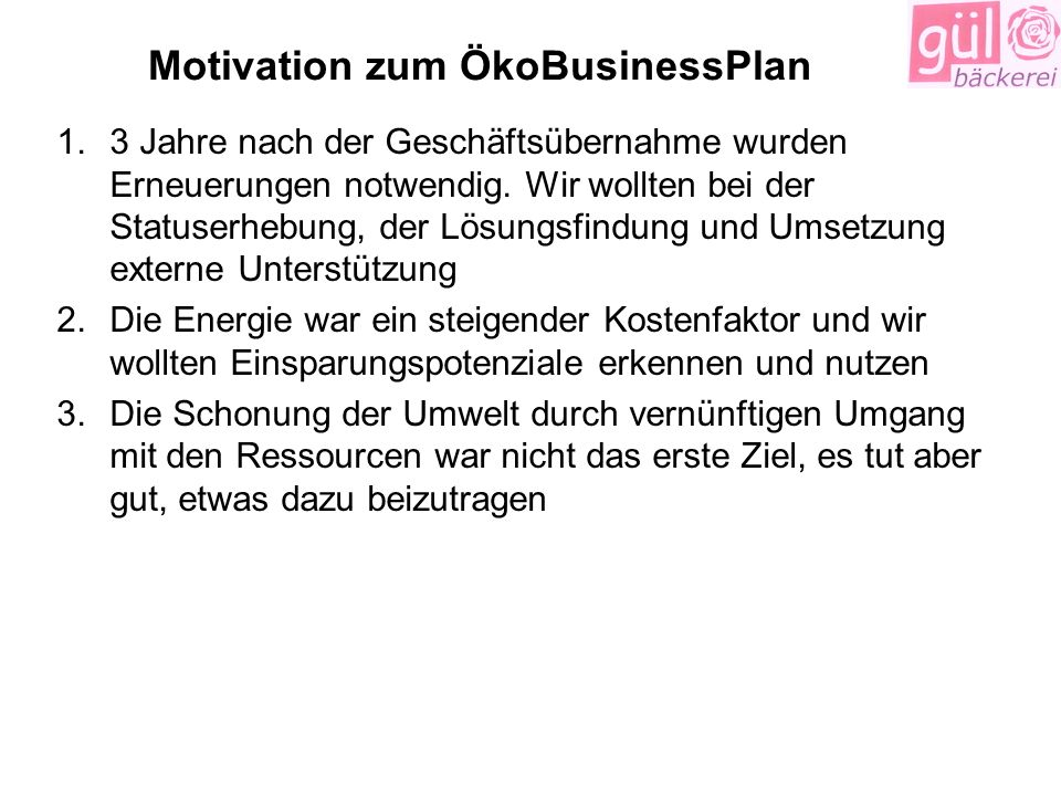 Motivation zum ÖkoBusinessPlan