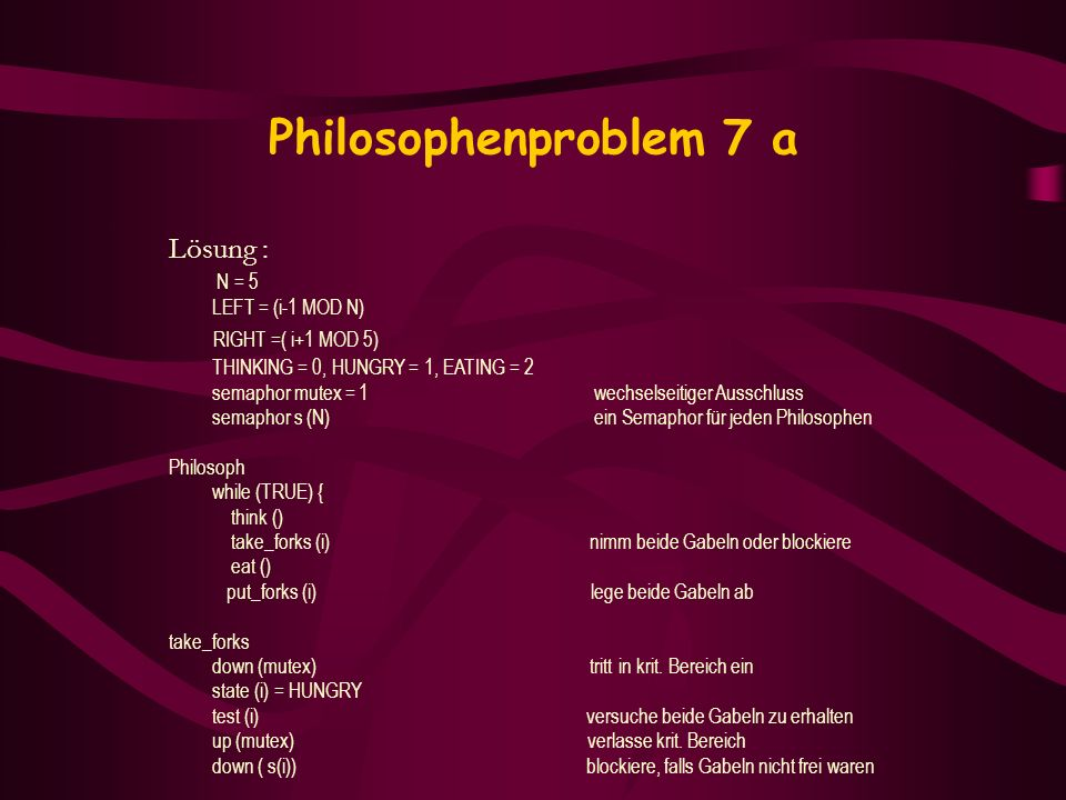 Philosophenproblem 7 a Lösung : RIGHT =( i+1 MOD 5) N = 5