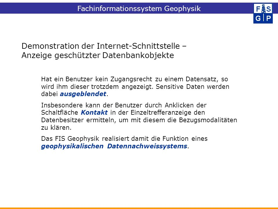 Demonstration der Internet-Schnittstelle –