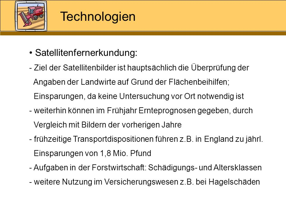 Technologien Satellitenfernerkundung: