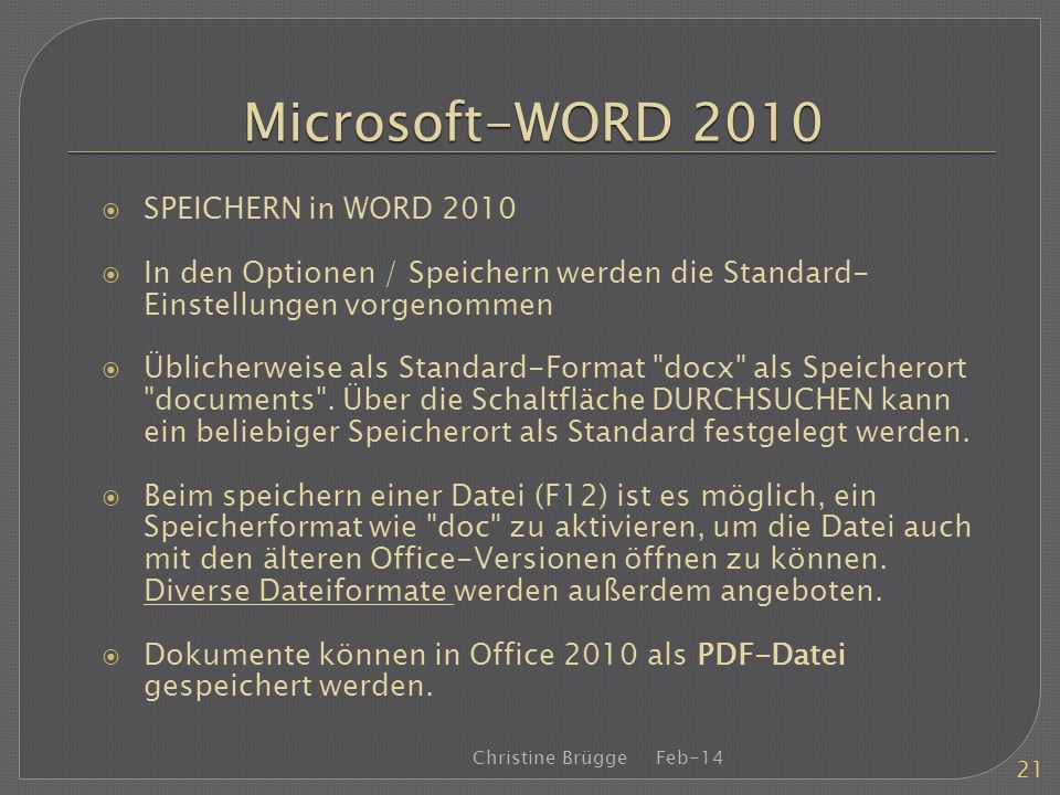 Microsoft-WORD 2010 SPEICHERN in WORD 2010