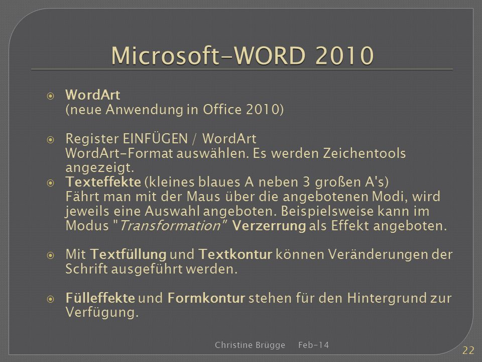 Microsoft-WORD 2010 WordArt (neue Anwendung in Office 2010)