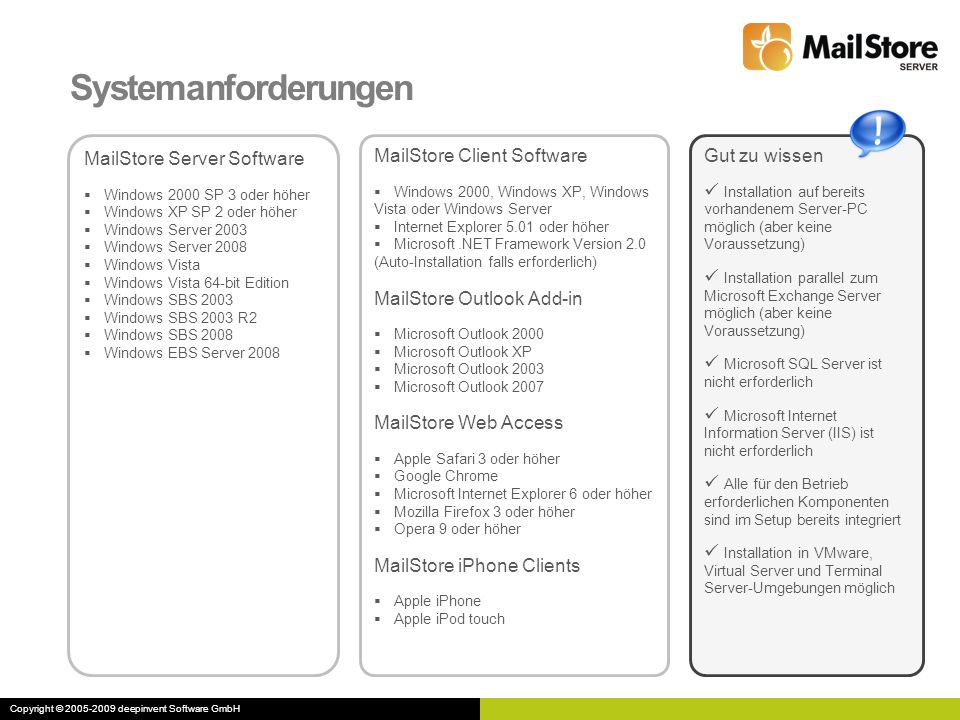 Systemanforderungen MailStore Server Software