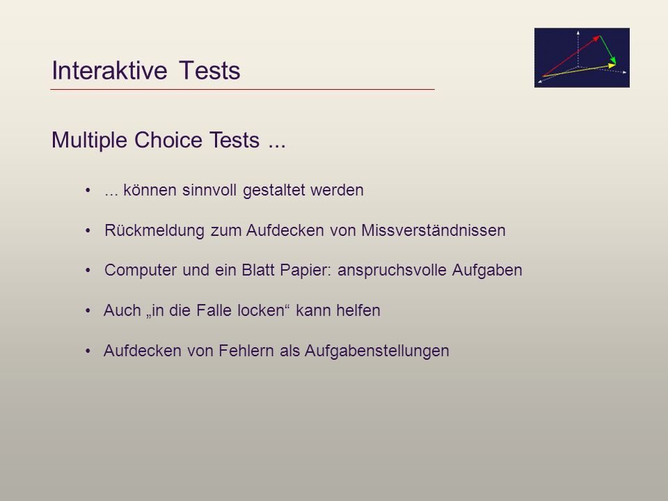 Interaktive Tests Multiple Choice Tests ...