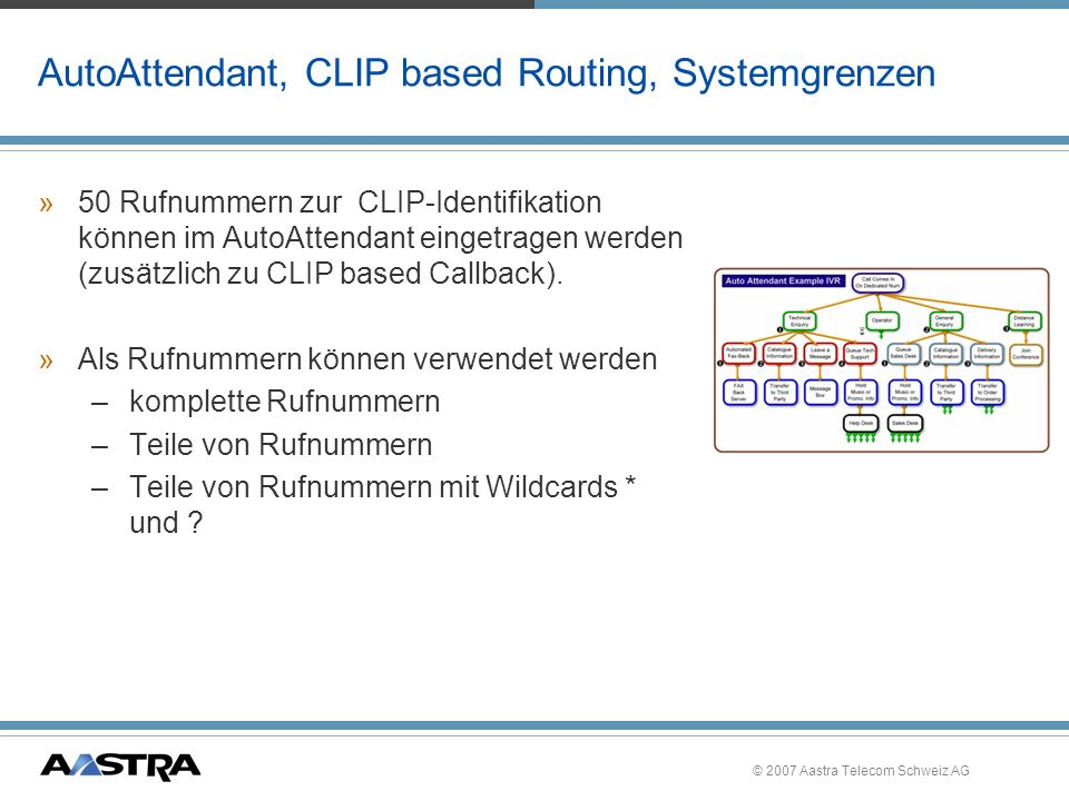AutoAttendant, CLIP based Routing, Systemgrenzen