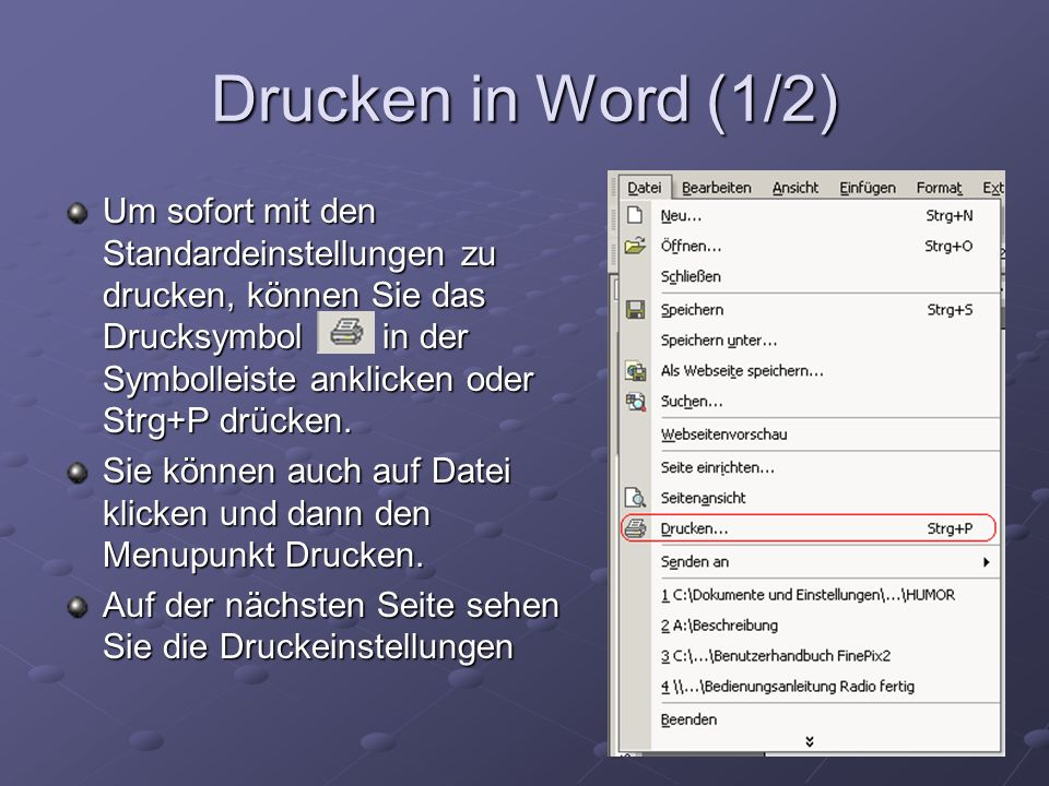 Drucken in Word (1/2)