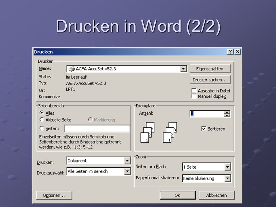 Drucken in Word (2/2)