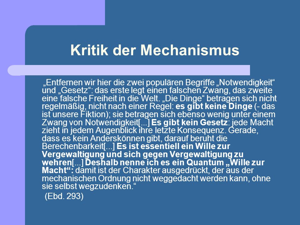 Kritik der Mechanismus