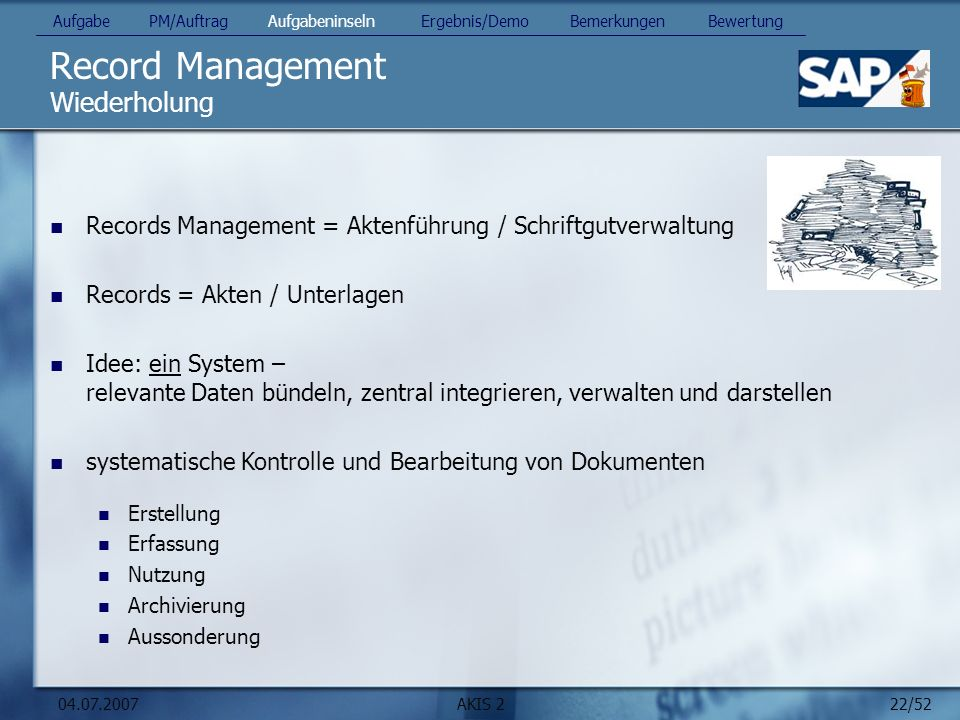 Record Management Wiederholung