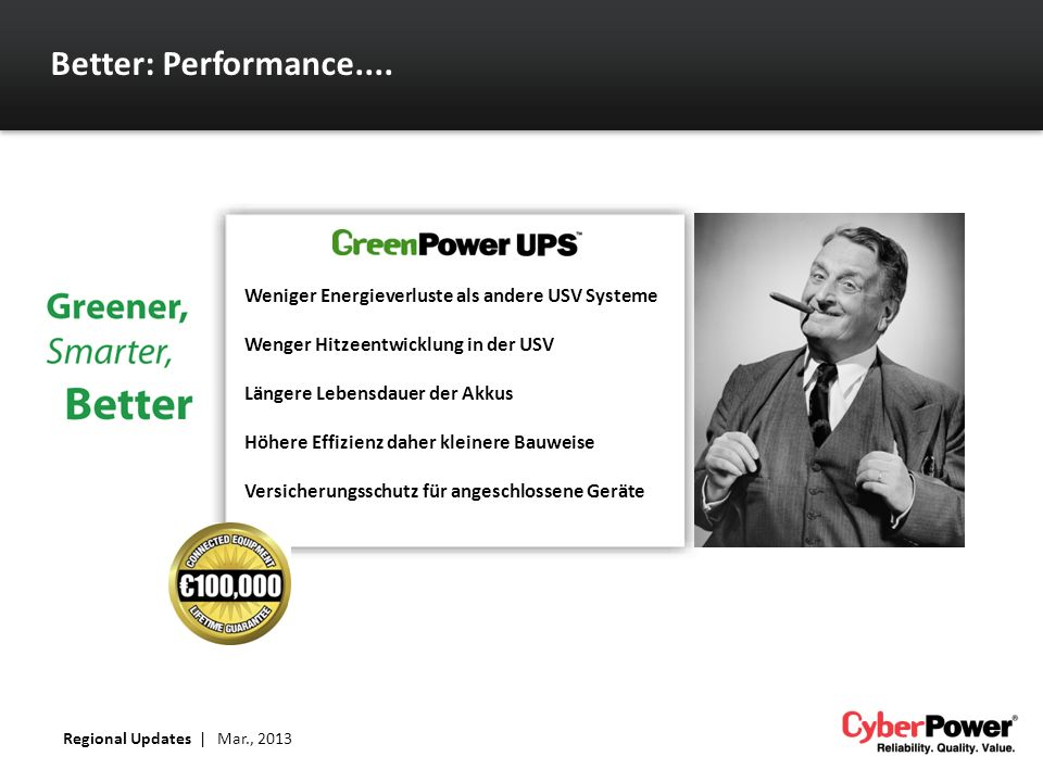 Better: Performance.... Weniger Energieverluste als andere USV Systeme