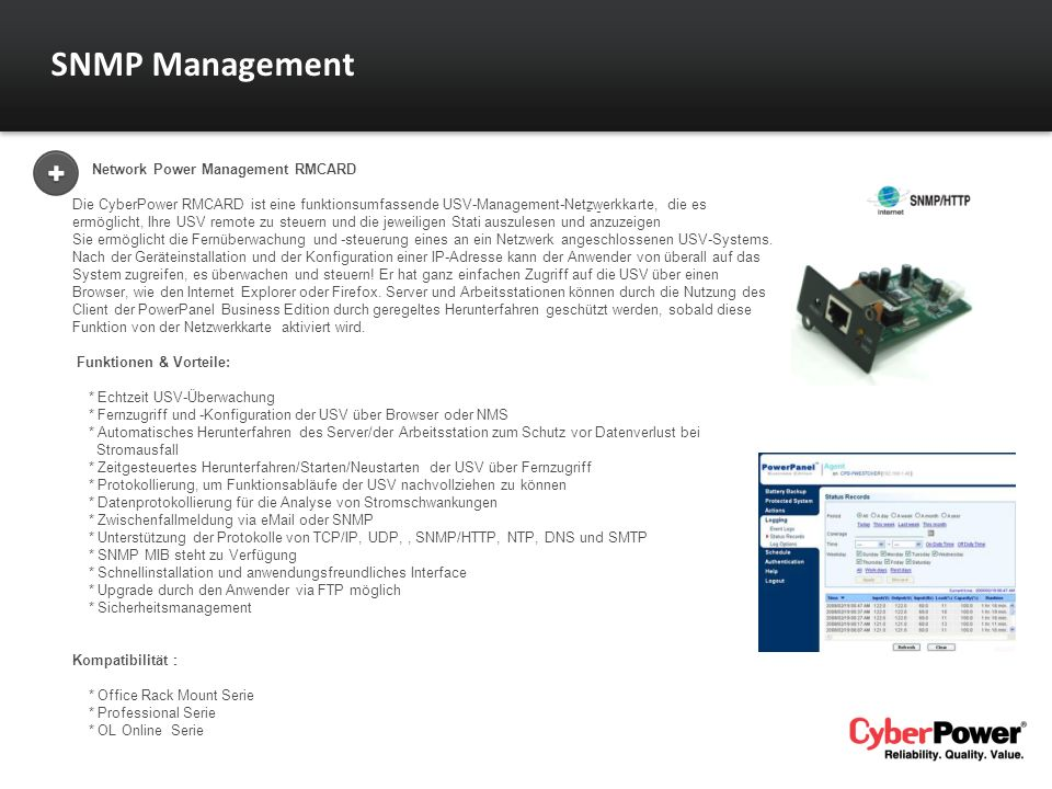 SNMP Management Network Power Management RMCARD