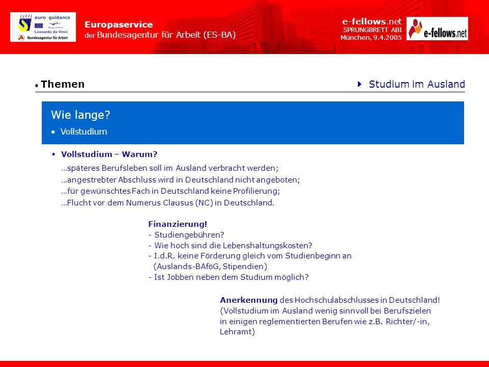 Wie lange  Studium im Ausland e-fellows.net Vollstudium