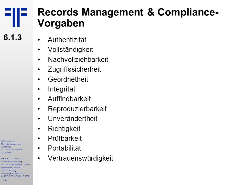 Records Management & Compliance- Vorgaben
