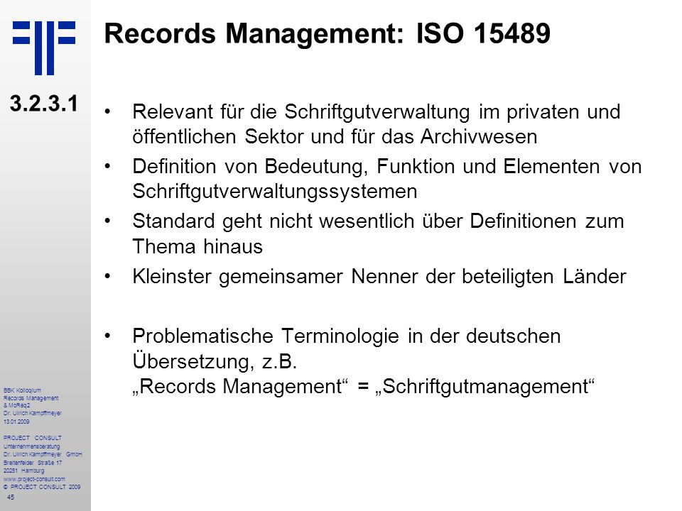 Records Management: ISO 15489