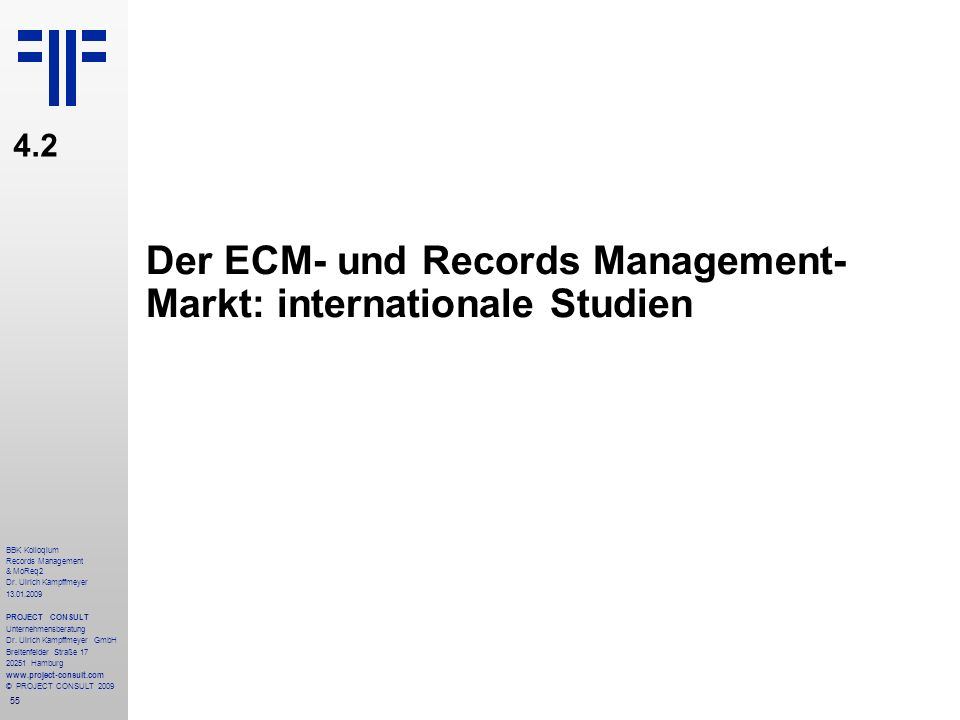 Der ECM- und Records Management- Markt: internationale Studien
