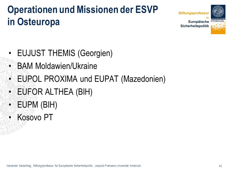 Operationen und Missionen der ESVP in Osteuropa