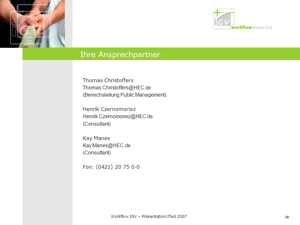 Ihre Ansprechpartner Thomas Christoffers Thomas.Christoffers@HEC.de