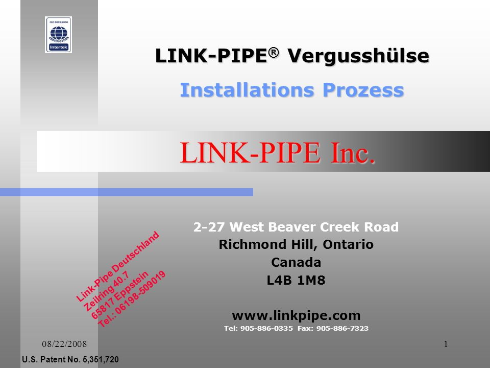 LINK-PIPE Inc. LINK-PIPE® Vergusshülse Installations Prozess