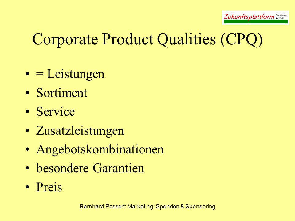 Corporate Product Qualities (CPQ)