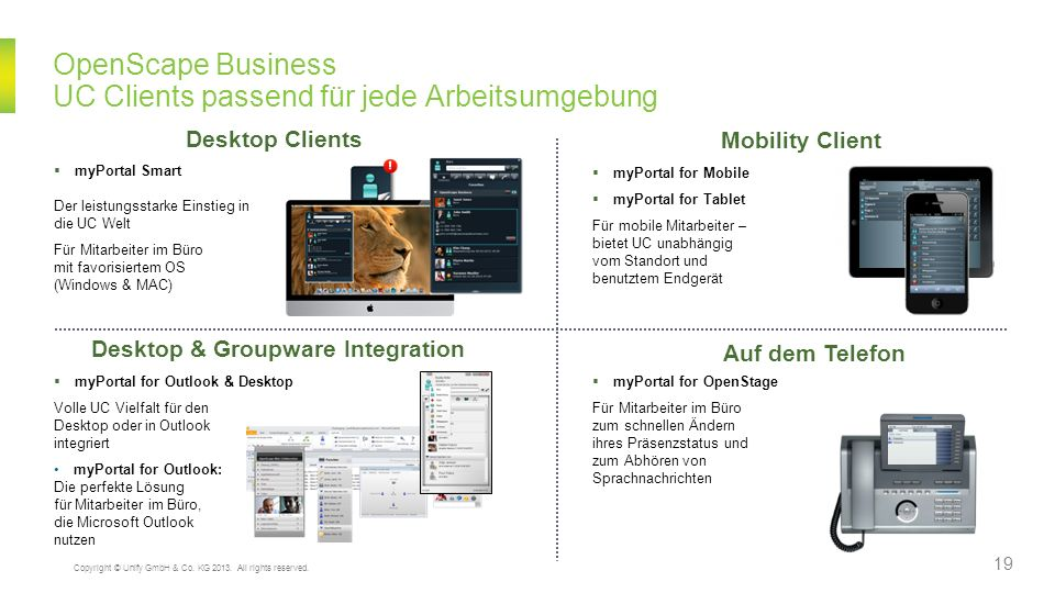 OpenScape Business UC Clients passend für jede Arbeitsumgebung