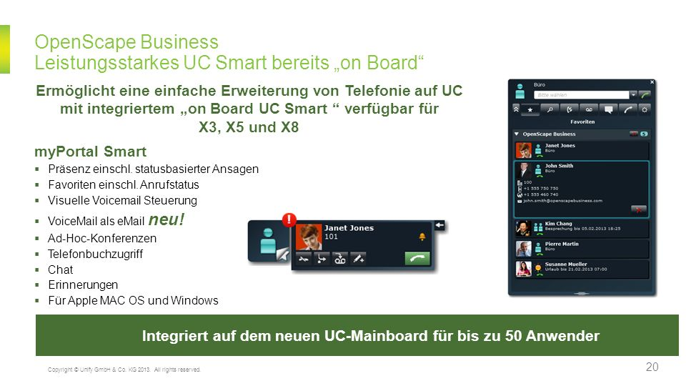"OpenScape Business Leistungsstarkes UC Smart bereits ""on Board"