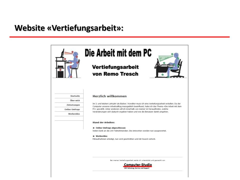 Website «Vertiefungsarbeit»: