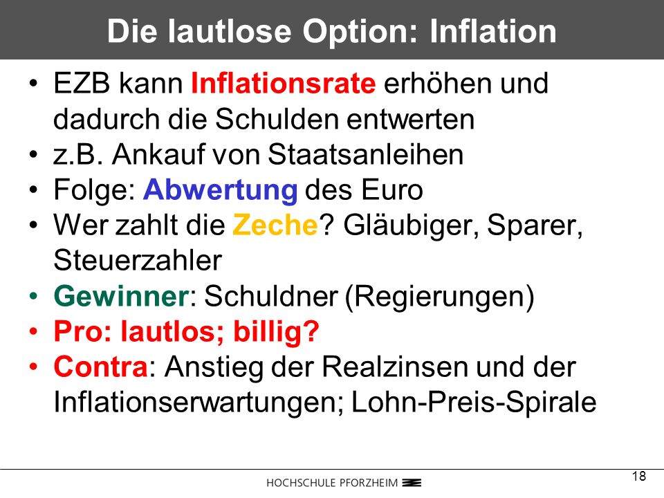 Die lautlose Option: Inflation