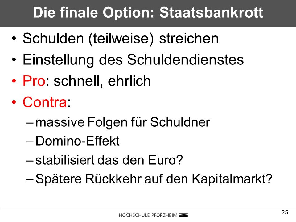 Die finale Option: Staatsbankrott