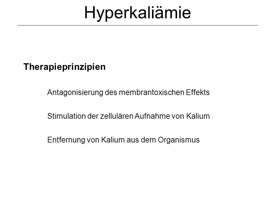 Hyperkaliämie Therapieprinzipien