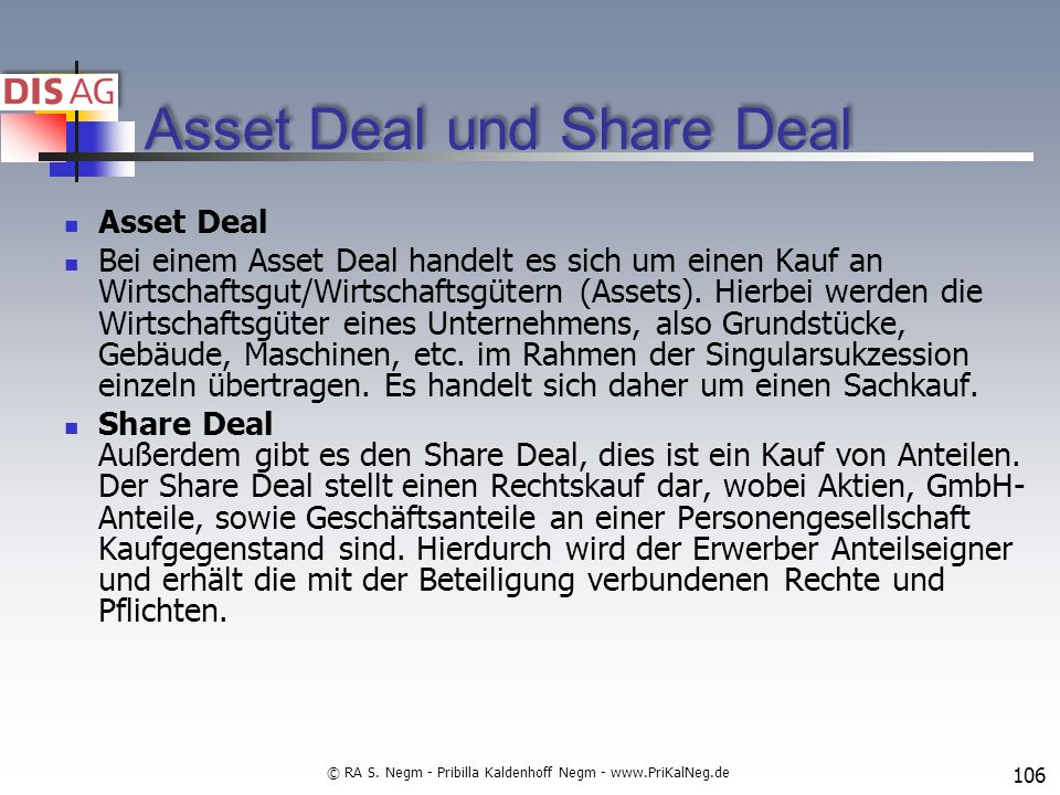 Asset Deal und Share Deal