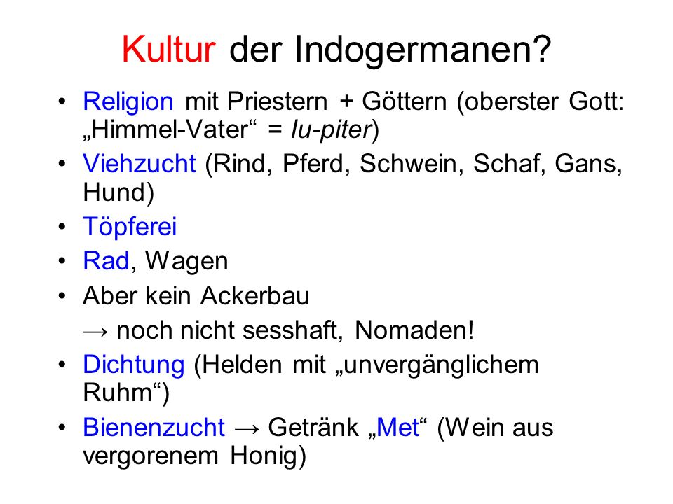 Kultur der Indogermanen