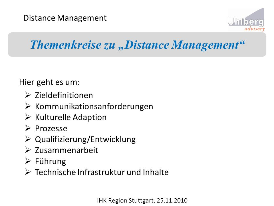 "Themenkreise zu ""Distance Management"