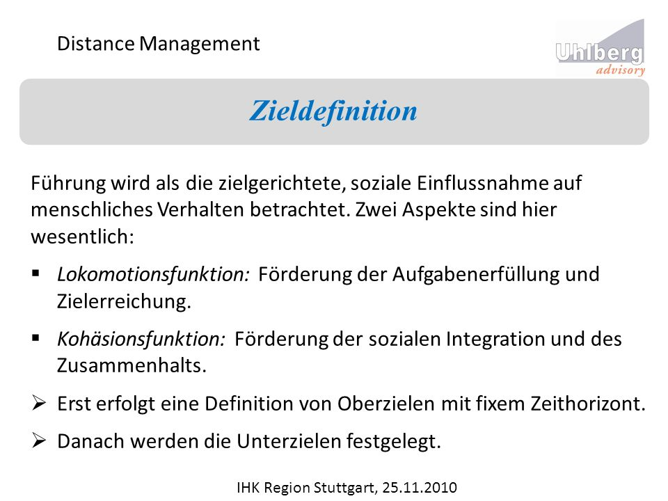 Zieldefinition Distance Management